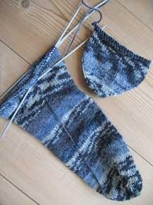 Blue knitted socks