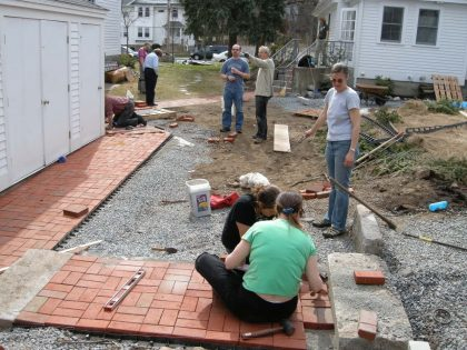 Laying bricks for Follen's new path